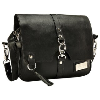 Phive Rivers Black Leather Sling Handbag (Italy)