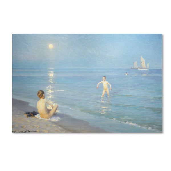 'Boys on the Seashore in a Summer Night' Canvas Art