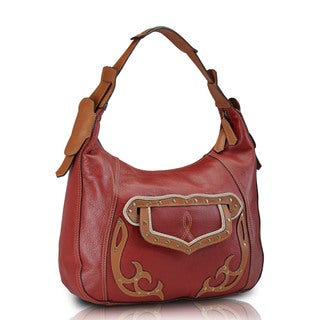 Phive Rivers Red Leather Hobo Handbag (Italy)