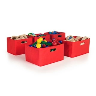 Red Storage Bins (Set of 5)