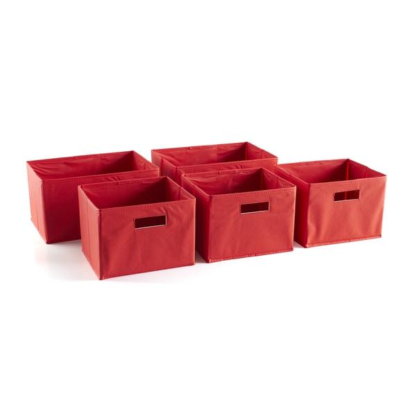 Red Storage Bins (Set of 5)