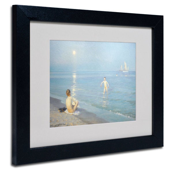 Boys on the Seashore in a Summer Night' White Matte, Black Framed Wall Art