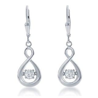 La Preciosa Sterling Silver 'Dancing Cubic Zirconia' Teardrop Dangle Earrings