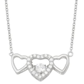 La Preciosa Sterling Silver Triple Heart 'Dancing' Cubic Zirconia Necklace