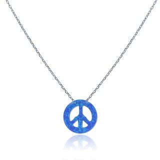 La Preciosa Sterling Silver Created Opal Peace Sign Necklace