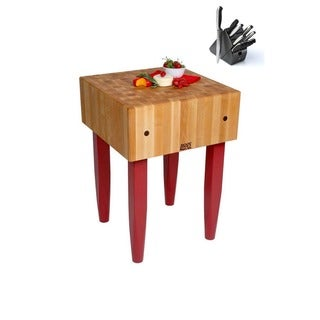 John Boos Barn Red Maple Butcher Block 18 x 18 Table and Henckels 13-piece Knife Block Set