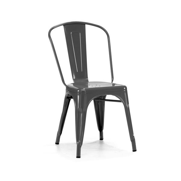 Amalfi Stackable Glossy Black Steel Side Chair (Set of 4)