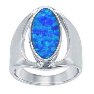 La Preciosa Sterling Silver Created Blue Opal Wide Oval Ring
