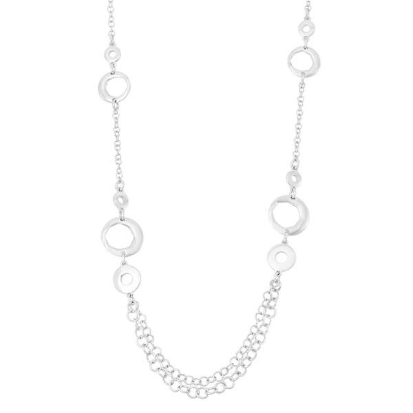La Preciosa Sterling Silver Circle Link Chain Necklace