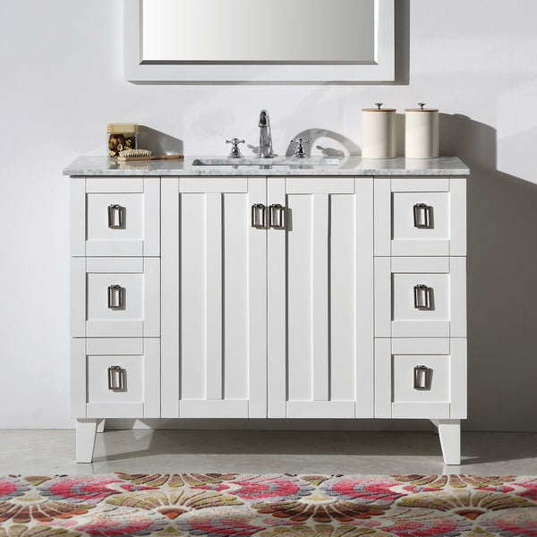 Contemporary Style Eight Inch Carrara White Marble Top Single