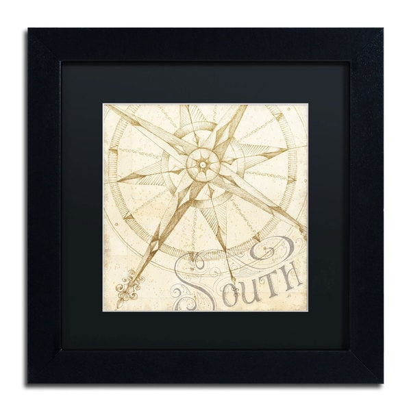 Daphne Brissonnet 'Coast to Coast Sepia II' Black Matte, Black Framed Wall Art
