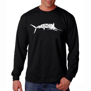 Men's Los Angeles Pop Art Gone Fishin' Marlin Long Sleeve T-Shirt