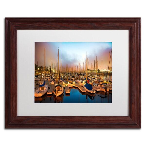 David Ayash 'Marina Del Rey - Southern California' White Matte, Wood Framed Wall Art
