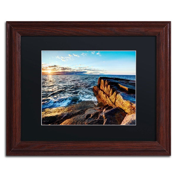 David Ayash 'Sunrise Over the Atlantic in Maine' Black Matte, Wood Framed Wall Art 16034174