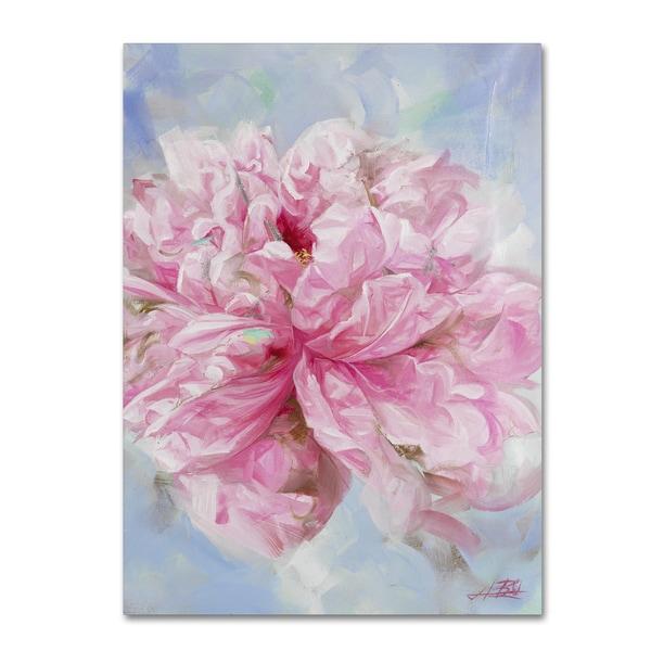 Li Bo 'Pink Peonie II' Canvas Art
