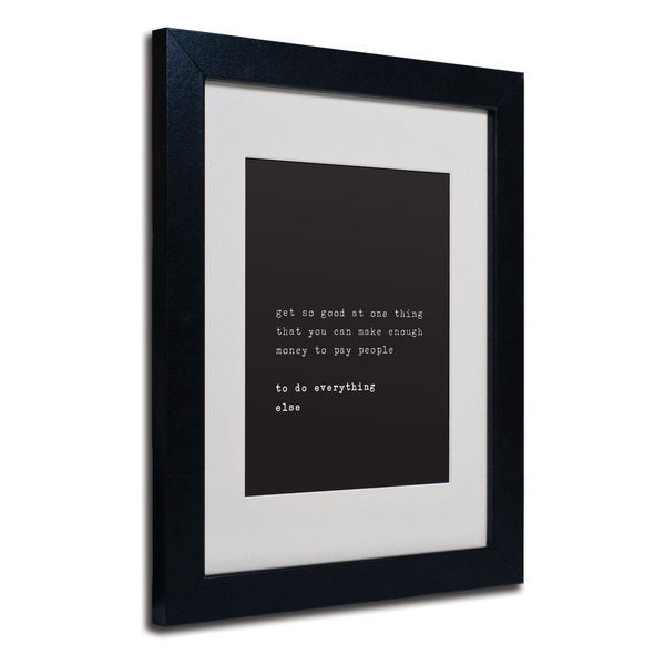 Megan Romo 'What's a Motto' White Matte, Black Framed Wall Art