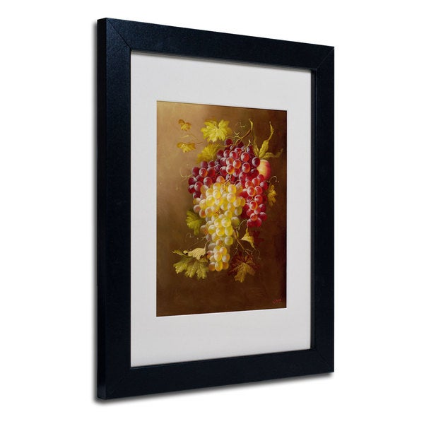 Rio 'Still Life with Grapes' White Matte, Black Framed Wall Art 16034619