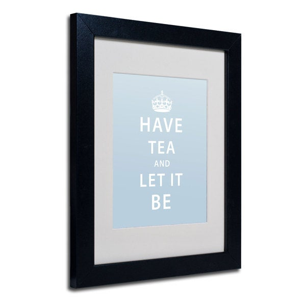 Megan Romo 'Have Tea' White Matte, Black Framed Wall Art