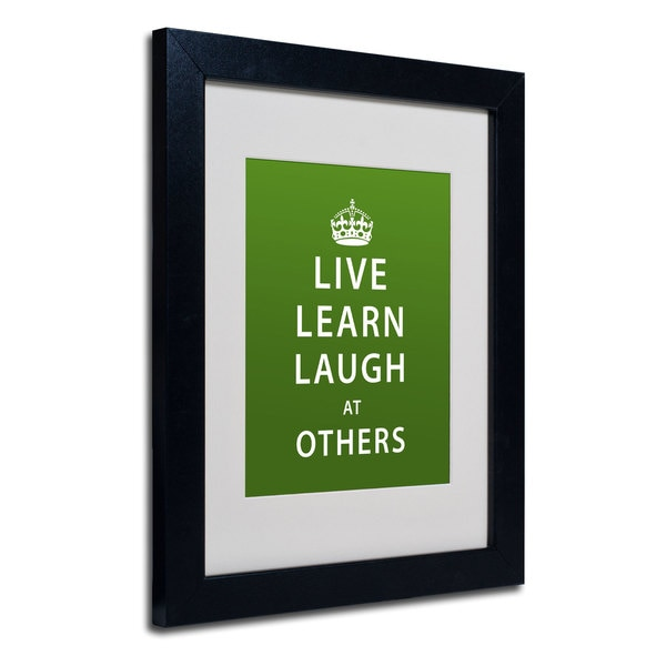 Megan Romo 'Laugh at Others' White Matte, Black Framed Wall Art