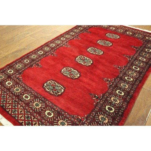 Unique Vibrant Red Gul Turkomen Bokhara Hand-knotted Wool Area Rug (3' x 5')