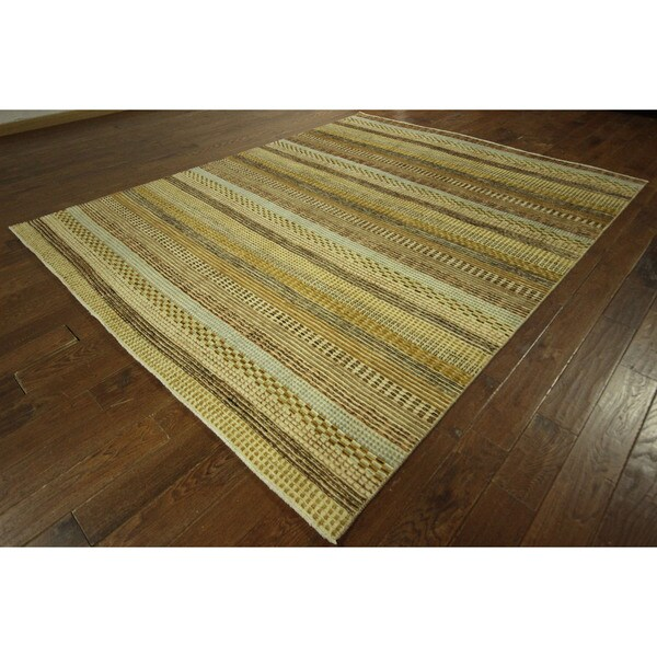 Handmade Gabbeh Brocade Design Multi-colored Hand-knotted Wool Area Rug (8' x 10')
