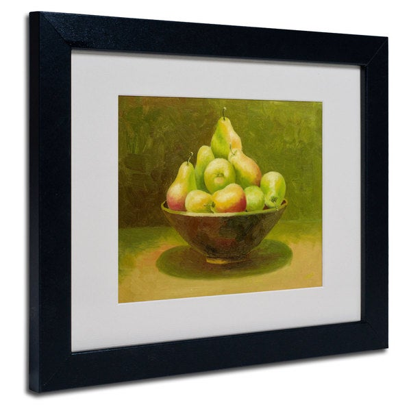 Rio 'Still Life with Pears' White Matte, Black Framed Wall Art