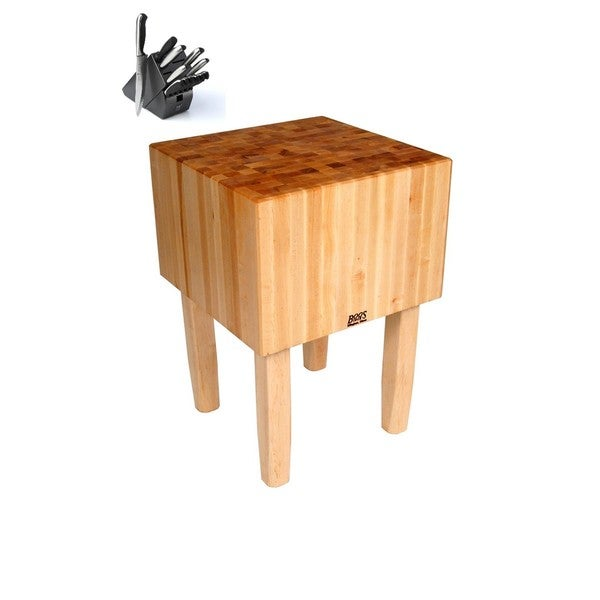 John Boos 16-inch Maple Butcher Block Table with J.A. Henckels 13-piece Knife Set