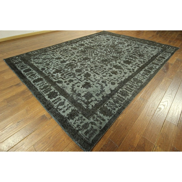 Unique High Quality Hand-knotted Wool Floral Blue Overdyed Area Rug (9' x 13')