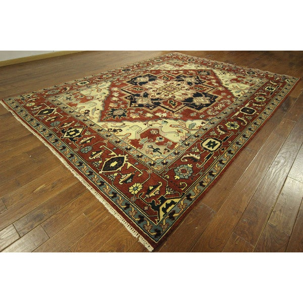 Red/ Ivory Floral Heriz Serapi Oriental Hand-knotted Wool Area Rug (9' x 12') 16034913