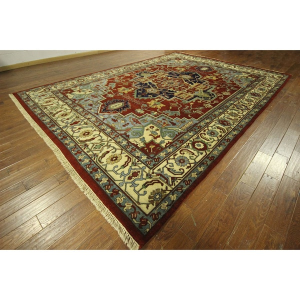 Amazing Heriz Serapi Hand Knotted Red Ivory Oriental Wool