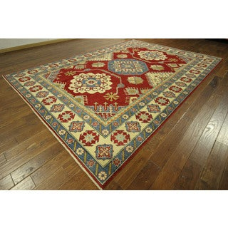 Mesa Collection Hand-knotted Kazak Red Oriental Wool Area Rug (7' x 9')
