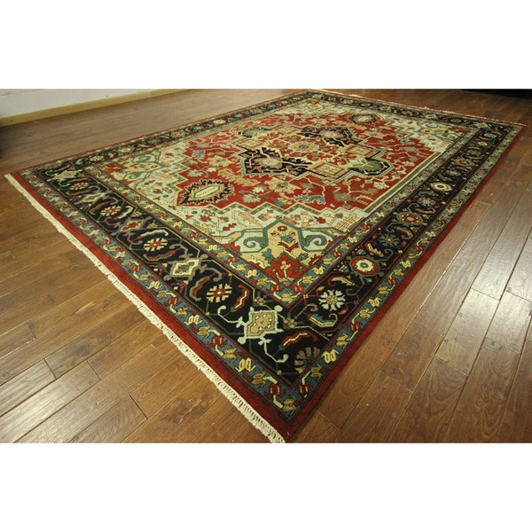 Heriz Serapi Hand Knotted Red Navy Blue Oriental Wool