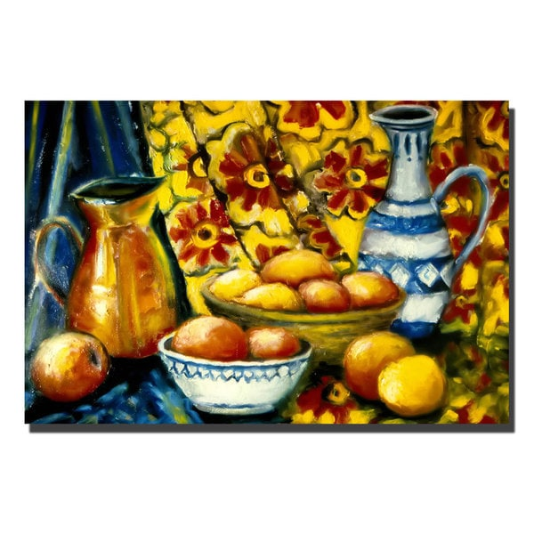 Michelle Calkins 'Still Life with Oranges' Canvas Art