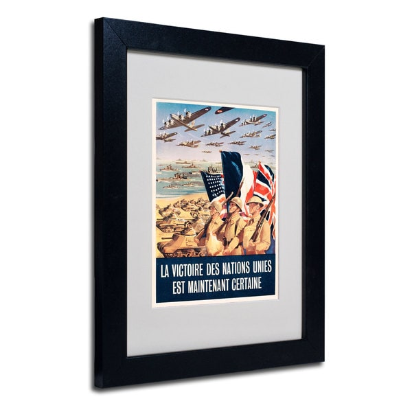 Propaganda Poster from World War II' White Matte, Black Framed Wall Art