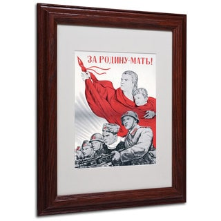 Soviet Russian Poster For the Motherland' White Matte, Wood Framed Wall Art