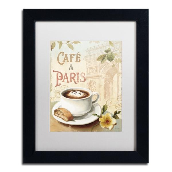 Lisa Audit 'Cafe in Europe I' White Matte, Black Framed Wall Art