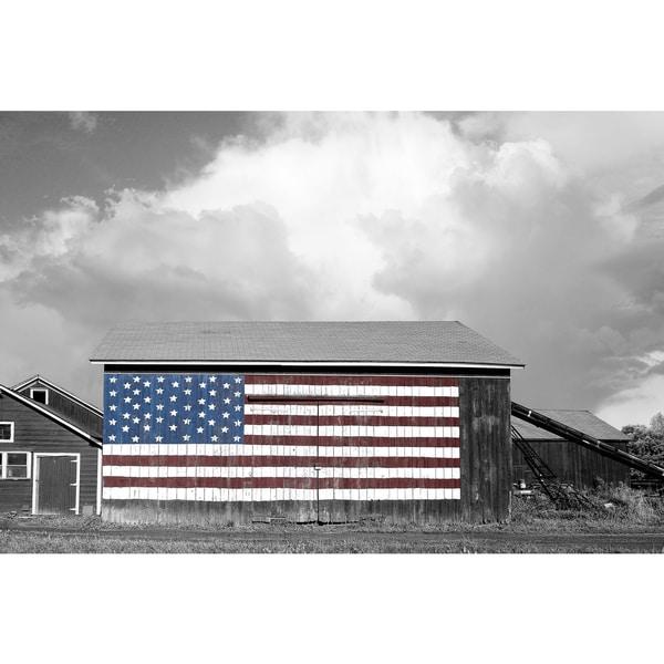 James McLoughlin 'Flags of our Farmers 1' 24x36 Framed Canvas Wall Art