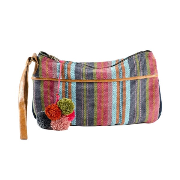 Berry Boho Striped Clutch Bag (India)