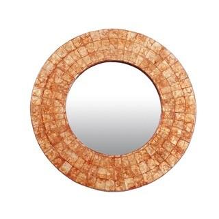 Redmond Medium Round Orange Mirror