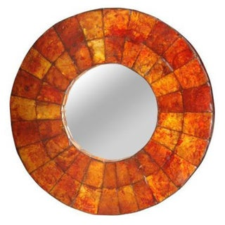 Tualatin Small Round Orange Mirror