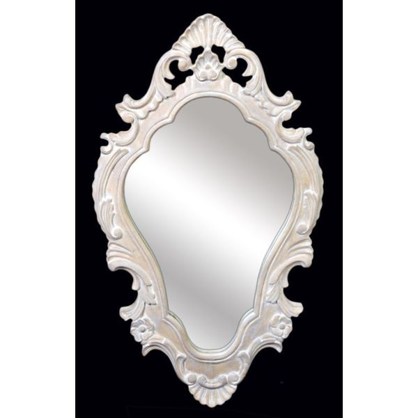 "Utica 26"" Oval Vintage White Accent Mirror"