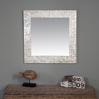 Valley Capiz Shell Accented Off-white Square Mirror