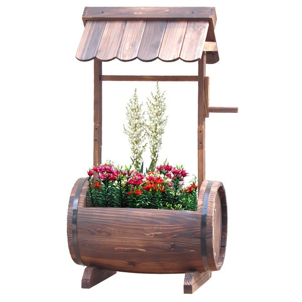 Wooden Barrel Well Planter