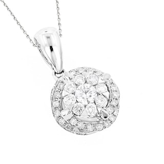 Luxurman 18k White Gold 2/5ct TDW Diamond Luccello Circle Pendant (F-G, VS1-VS2)
