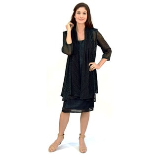 R&M Richards Crinkle Knit Jacket Dress