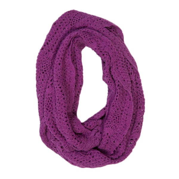 Lucia Berry Purple Cotton Crochet Infinity Scarf (India)