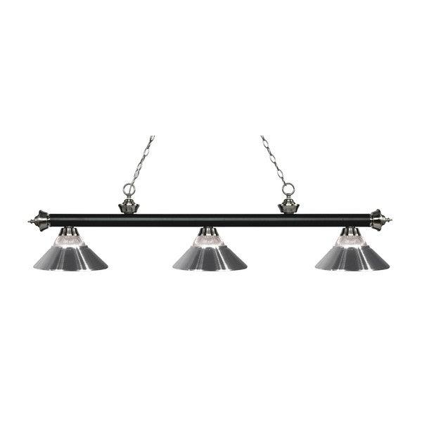 Z-Lite Rivera Matte Black & Brushed Nickel 3-light Island/Billiard Clear Ribbed Glass and Chrome-finished Light 16035972