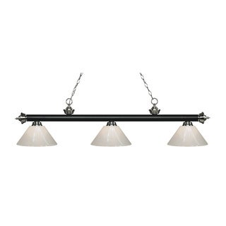 Z-Lite Rivera Matte Black & Brushed Nickel 3-light Island/Billiard White-finished Light