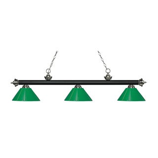 Z-Lite Rivera Matte Black & Brushed Nickel 3-light Island/Billiard Green-finished Light