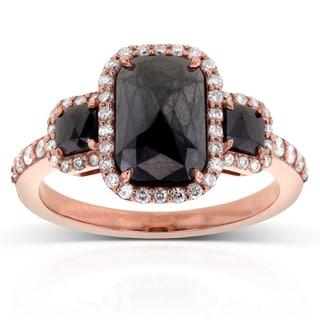Annello 14k Rose Gold 3 1/2ct TDW Three Stone Black and White Diamond Ring (G-H, I1-I2)